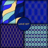 Set of four seamless wave pattern.  Stock Photography