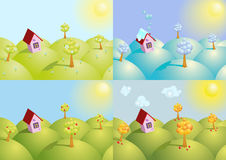 Set of four seasons background. Vector illustration Royalty Free Stock Images