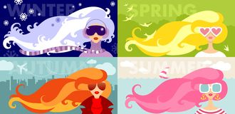 Set of four seasons banners with beauty womans Royalty Free Stock Images