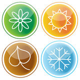 Set of four seasons icons Royalty Free Stock Photos