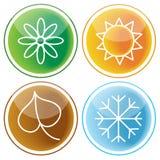 Set of four seasons icons Royalty Free Stock Photos