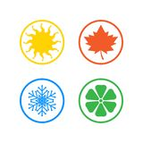 Set of four seasons icons. Seasons - winter, spring, summer and autumn. Four seasons icon set. Vector illustration isolated on white background Stock Photography