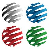 Spiral ribbon 3D sphere geometric shapes vector illustration isolated in black, red, blue and green. Set of four sharp spiral vector 3D balls in black, blue, red vector illustration