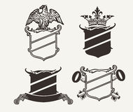 Set Of Four Shield Heraldry Compositions Royalty Free Stock Photography