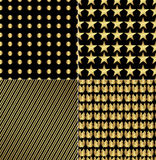 Set of four shiny festive background for new year. Or other holiday. Pattern for decoration or making wrapping paper or fabric. Collection of gold elements on a Stock Image