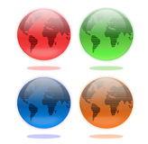 Set of Earth Globes in Four Colors. Set of four shiny glass earth globes in red, green, blue and brown colors Royalty Free Stock Photos
