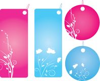Set of four shopping labels. In blue and pink color. Round and rectangle shape Stock Image