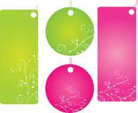 Set of four shopping labels. Set of four floral shopping labels in green and pink color. Round and rectangle shape Royalty Free Stock Image