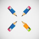 Set of four short pencils. Vector design Royalty Free Stock Photography