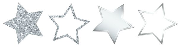 Set Of Four Silver Stars Sparkling And Shining vector illustration