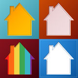 Set of four simple, abstract house backgrounds Stock Photos