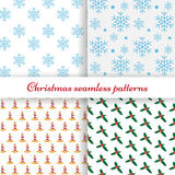 Set of four simple Christmas patterns. Vector illustration EPS10 Stock Image