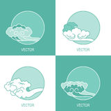 Set of four simple eco cloud sky circle logo template Royalty Free Stock Photo
