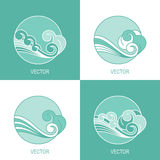 Set of four simple eco water circle logo template Royalty Free Stock Photo