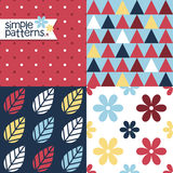 Set of four simple seamless patterns Stock Photos