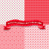 Set of four simple valentine's day backgrounds Stock Image
