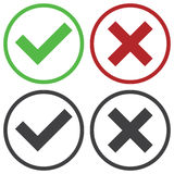 Set of four simple web buttons: green check mark and red cross in two variants Royalty Free Stock Images
