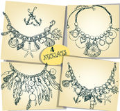 Set with four sketches of necklaces Royalty Free Stock Image