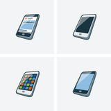 Set of four smartphone illlustrations. Set of four isolated smartphone icon illustration in cartoon style with different screen background Stock Photos