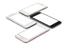 Set of four smartphones gold, rose, silver and black. Set of four smartphones gold, rose, silver and black with blank screen, isolated on white background Royalty Free Illustration