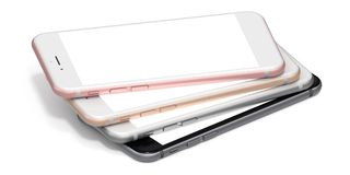 Set of four smartphones gold, rose, silver and black - blank screen Royalty Free Stock Photography