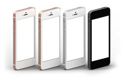 Set of four smartphones gold, rose, silver and black with blank screen. Stock Image