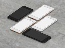 Set of four smartphones gold, rose, silver and black. Set of five smartphones gold, rose, silver, black and black polished with blank screen Royalty Free Stock Image