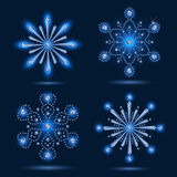 Set of four snowflakes Royalty Free Stock Photography