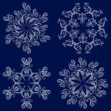 Set of four snowflakes Royalty Free Stock Images