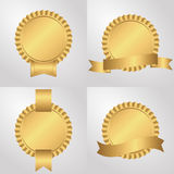Set of four sockets with ribbons, golden. Royalty Free Stock Images