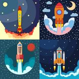 Set of four space rocket ship in round piece. Space rocket launch. Project startup and development process concept. The rocket flies upwards Stock Photo