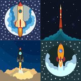 Set of four space rocket ship in round piece. Space rocket launch. Project startup and development process concept. The rocket flies upwards stock illustration