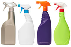 Set of four spray bottles stock images