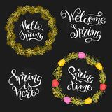Set of four spring quotes and two door wreaths  with tulips and mimosa. Vector illustration. Floral spring door wreaths and spring quotes Royalty Free Stock Image