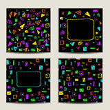 Set of four square cards with geometric shapes. Set of four square cards. Stylish abstract colorful backgrounds with geometric shapes. Hand Drawn textures Stock Photo