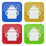 Four square color icons, cooking pot with smoke royalty free illustration