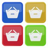 Four square color icons, shopping basket royalty free illustration