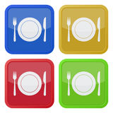 Set of four square icons - cutlery and plate Royalty Free Stock Image