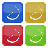 Set of four square icons with dial symbol Stock Photos