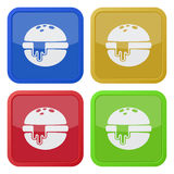 Set of four square icons, hamburger, melted cheese Stock Photos