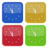 Set of four square icons with last minute clock. Set of four colored square icons with last minute clock vector illustration