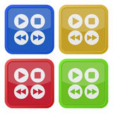 Set of four square icons - music control buttons Stock Images