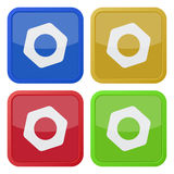 Set of four square icons with nut Stock Photos
