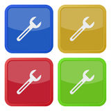 Set of four square icons with spanner Royalty Free Stock Photography