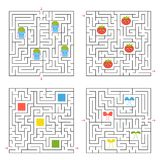 A set of four square labyrinths. Collect all the items and find a way out of the maze. An interesting game for children. Simple fl. At vector illustration Royalty Free Stock Images