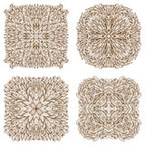 Set of four square mehandi ornaments Royalty Free Stock Photo