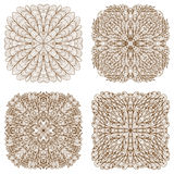 Set of four square mehandi ornaments Royalty Free Stock Image
