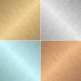Set of four square metal textures Royalty Free Stock Images