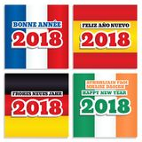 New Year 2018 flags set one. Set of four square vector banners with national flags of France, Spain, Germany and Ireland. Greeting text `Happy New Year 2018` in Stock Images
