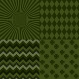 Set with four St. Patrick`s day backgrounds. Rhombus, Zig Zag, Rays, Clover Royalty Free Stock Photo